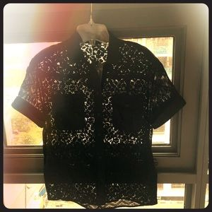 NWT Lace AllSaints Button down Size 4 in Black